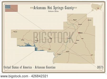 Map On An Old Playing Card Of Hot Springs County In Arkansas, Usa.