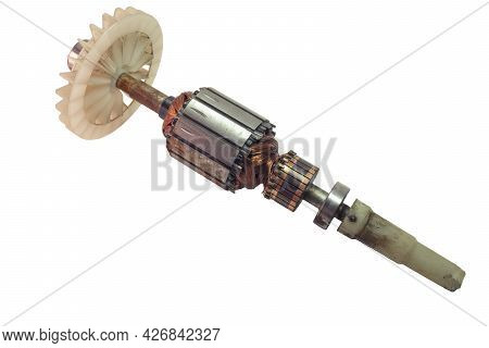 Rotor Of Dc Motor With Impeller And Ball Bearing On Shaft. Spare Part Of String Electric Trimmer. Is