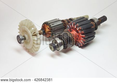 Couple Of Rotors Of Household Appliances Dc Motors. With Impeller And Ball Bearing