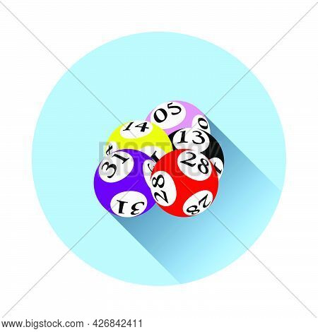 Lotto Balls Icon. Flat Circle Stencil Design With Long Shadow. Vector Illustration.