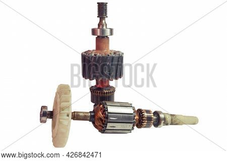 Dc Engine Armature With White Plastic Impeller And Windingless Rotor Assembly. On White Background,