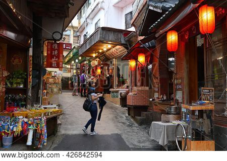 Fenqihu, Taiwan - November 30, 2018: People Visit Heritage Old Street In Fenqihu Town Located In Ali