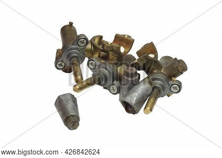 Brass Gas Taps And Nozzles. Elements Of Surface Burners System Of Gas Stove. Isolated On White Backg