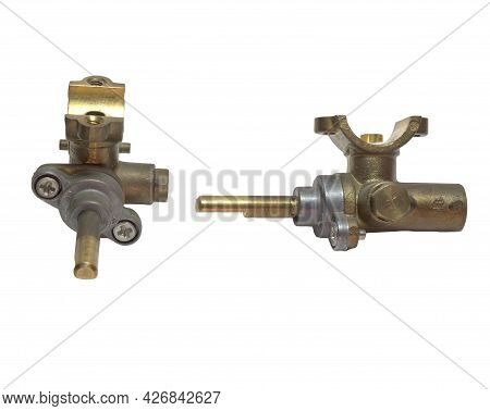 Brass Surface Burner Valves. Gas Stove Parts. Isolated On White Background, With Clipping Path