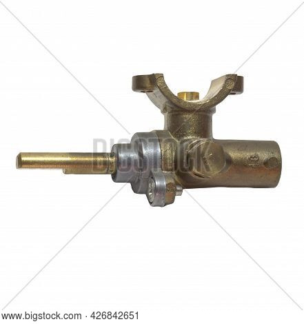 Brass Surface Burner Valve Of Gas Stove. Gas Tap From Side. Isolated On White Background With Clippi