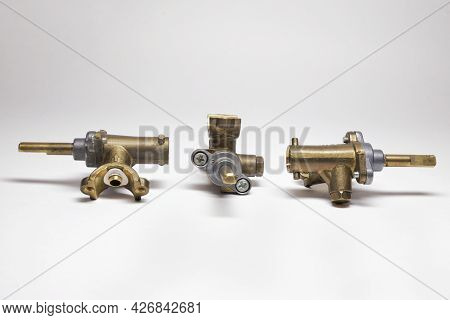 Brass Surface Burner Valves From From Three Sides. Gas Stove Spare Parts