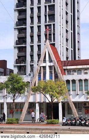 Taipei, Taiwan - December 4, 2018: Taipei Wesley Methodist Church In Taiwan. The Christian Minority