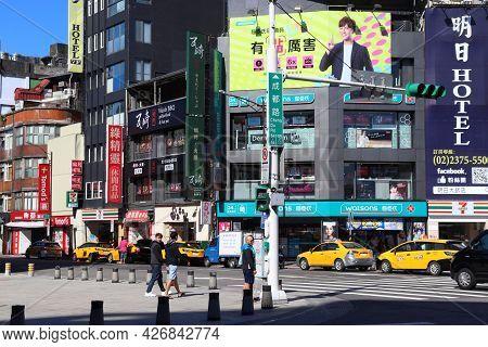 Taipei, Taiwan - December 3, 2018: People Visit Ximending Shopping District In Taipei. Ximending Is