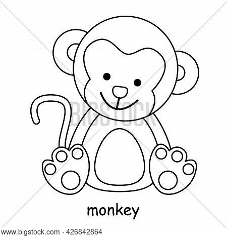 Children Coloring On The Theme Of Animal Vector, Monkey