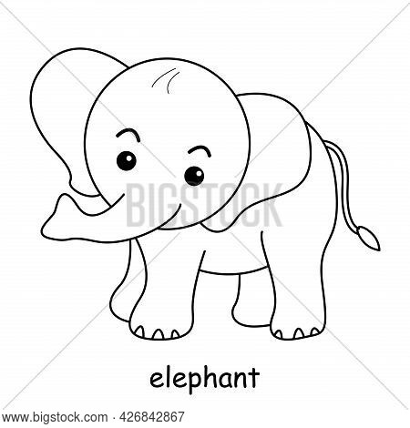 Children Coloring On The Theme Of Animal Vector, Elephant