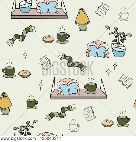 Hygge Hamsters And Book Shelves Cosy Seamless Pattern