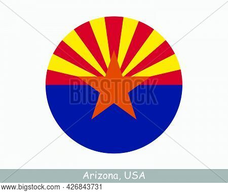 Arizona Round Circle Flag. Az Usa State Circular Button Banner Icon. Arizona United States Of Americ