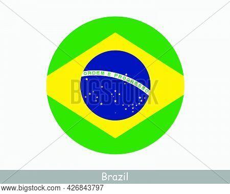 Brazil Round Circle Flag. Brazilian Circular Button Banner Icon. Eps Vector