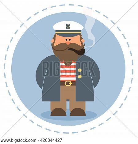 Cute Old Sailor With A Pipe. Illustration In A Flat Style.
