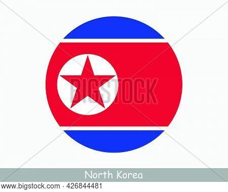 North Korea Round Circle Flag. North Korean Circular Button Banner Icon. Dprk Flag Eps Vector