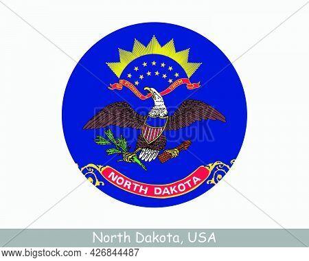 North Dakota Round Circle Flag. Nd Usa State Circular Button Banner Icon. North Dakota United States