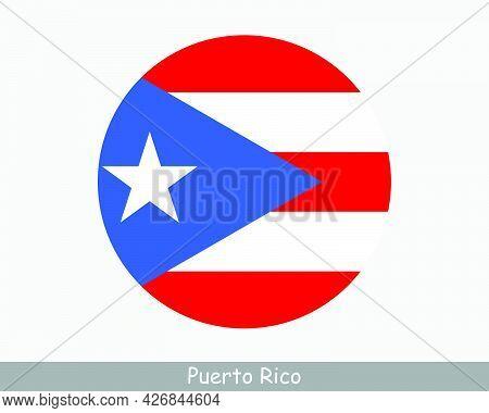 Puerto Rico Round Circle Flag. Puerto Rican Circular Button Banner Icon. Eps Vector