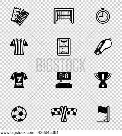 Soccer Icon Set. Vector Illustration On Checkered