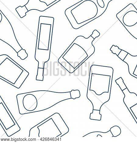 Vodka Champagne Whiskey Tequila Rum Liquor Bottles Seamless Pattern. Line Art Style. Outline Image.