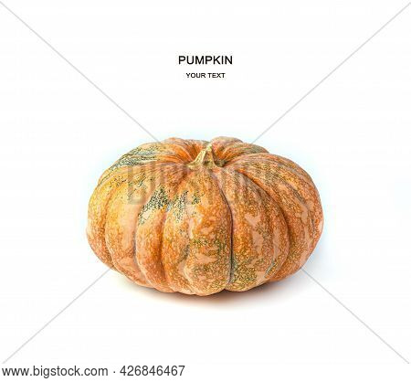 Ripe Pumpkin Isolated On A White Background. Side View.