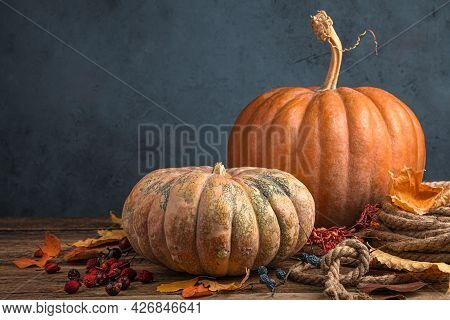 Pumpkins And Autumn Foliage On A Dark Blue Background. The Concept Of Autumn Holidays, Thanksgiving,