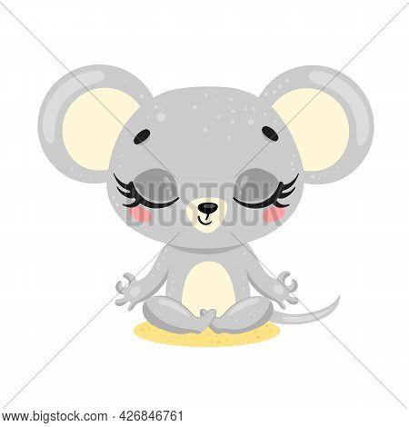 Vector Flat Cute Cartoon Doodle Mouse Meditation. Animals Meditate. Animals Yoga