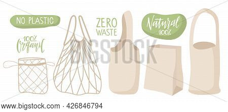 Eco Bag Set. Different Bag Options, Canvas, String, Paper. Shopper, Ecological Fabric Package And Pl