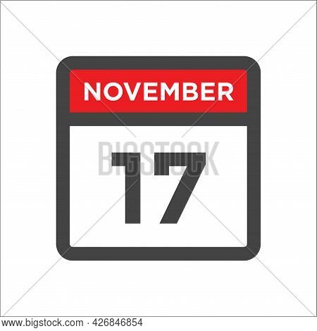 November 17 Calendar Icon W Day Of Month