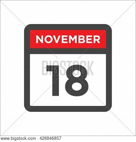 November 18 Calendar Icon W Day Of Month