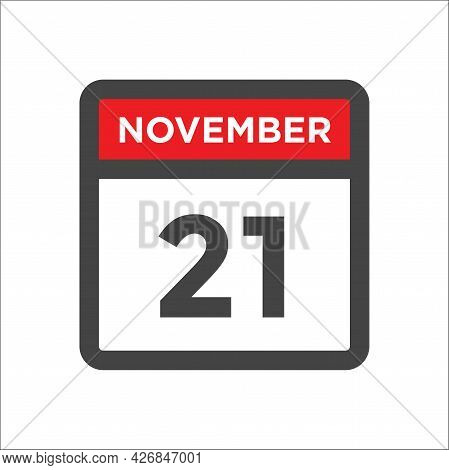 November 21 Calendar Icon W Day Of Month