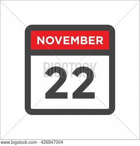 November 22 Calendar Icon W Day Of Month