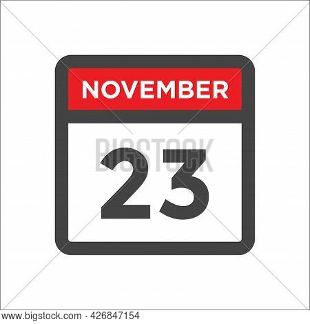 November 23 Calendar Icon W Day Of Month