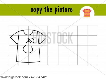 Children S Mini-game On Paper - Draw A T-shirt With A Pear. Copy The Picture Using Grid Lines, Simpl