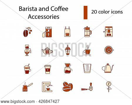 Professional Barista Accessories Flat Icons Set. Coffee Making Appliance. Cup, Glass And Kettler. Co