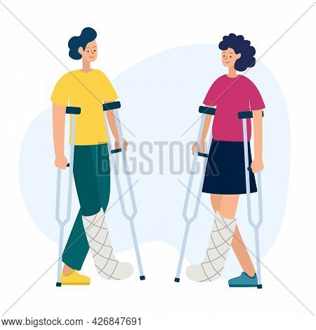 Vector Illustration Of People With Disabilities In A Cartoon Style. A Disabled Person With A Cast An