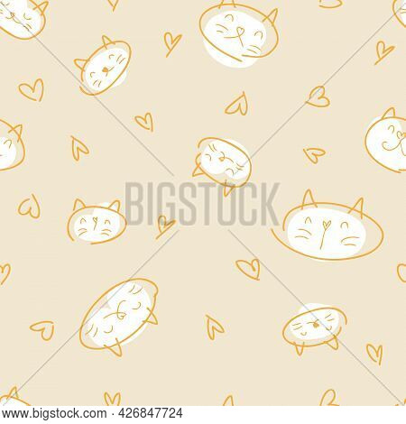 Doodle Vector Seamless Pattern Of Cats With White Muzzles. Perfect For Fabric, Textile And Prints. H