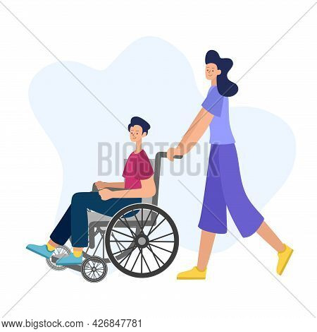Vector Illustration Of People With Disabilities In A Cartoon Style. A Disabled Man In A Wheelchair W