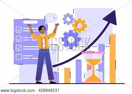 Productivity And Efficiency Growth Concept. The Man Organized His Working Time And Increased The Eff