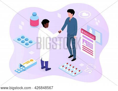 Doctor Advises The Patient Concept. The Patient Shakes The Therapist S Hand As A Sign Of Gratitude F