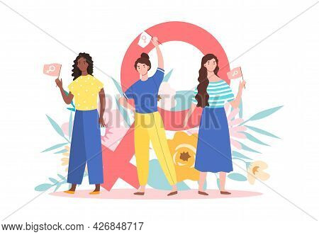The Concept Of Feminism. Three Women Hold Flags In Their Hands Against The Background Of A Female Ge