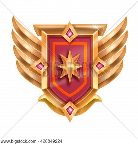 Victory Game Red Badge Vector Icon, Golden Winner Medal, Wings, Shield, Star Crystal Isolated On Whi