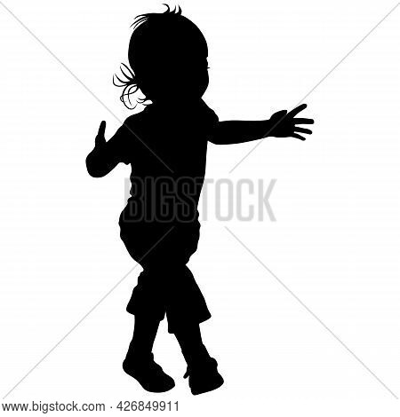 Black Silhouette Of Little Girl In Short Pants In Sandals With Long Hair