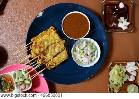 Satay Or Pork Satay , Grilled Pork With Dip