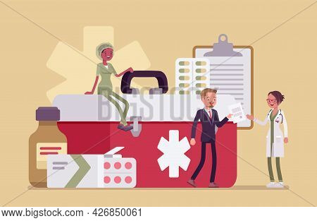 Healthcare Male Administrator Managing Doctor Staff, Hospital Community And Personnel. Clinic Manage