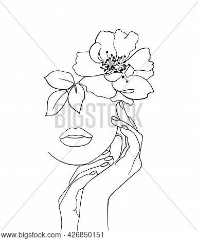 Beauty Face With Flower Rosehip Line Drawing Art. Abstract Minimal Portrait. - Vector Illustration