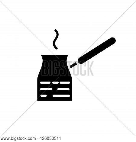 Turkish Coffe Pot Glyph Icon. Barista Equipment. Black Silhouette Symbol. Isolated Vector Stock Illu