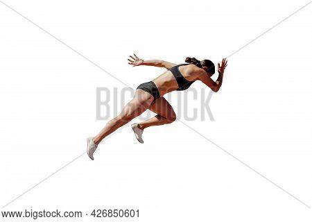 Start Running Young Female Sprinter On White Background