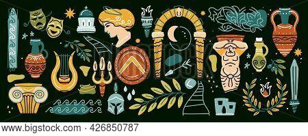 Ancient, Greek Elements Set. Various Antique Statues. Branch Olive, Amphora, Column. Heads Of Woman,