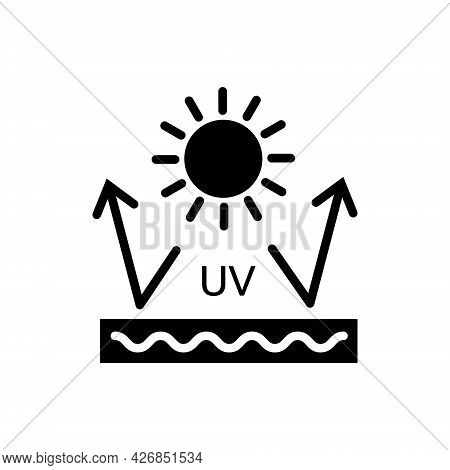 Ultraviolet Protection Glyph Icon. Sun Resistant Material Fabric Feature. Textile Industry. Fiber Ty