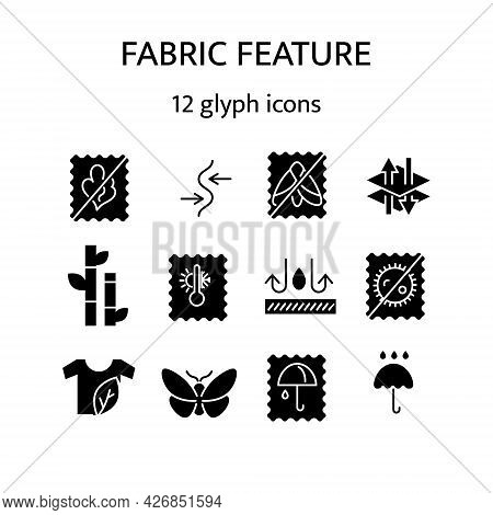 Fabric Feature Glyph Icons Set. Bamboo, Natural Textile, Organic Cotton. Different Properties Of Fib
